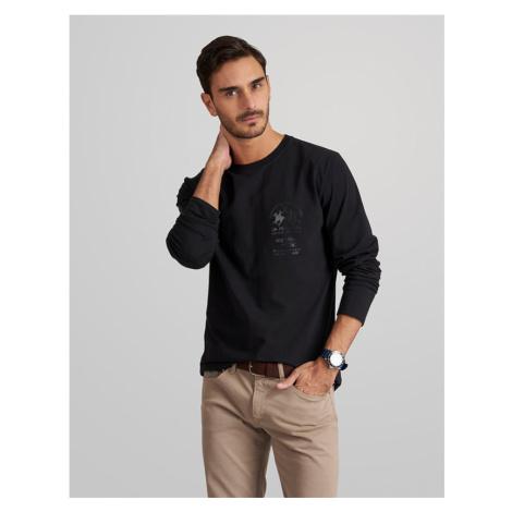 Tričko La Martina Man T-Shirt Long Sleeves Organ - Černá