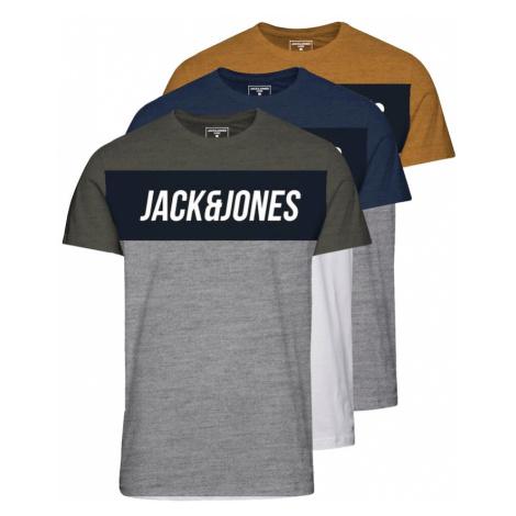 Jack & Jones Junior Tričko 'Temp' námořnická modř / bílá / khaki / žlutá / šedý melír