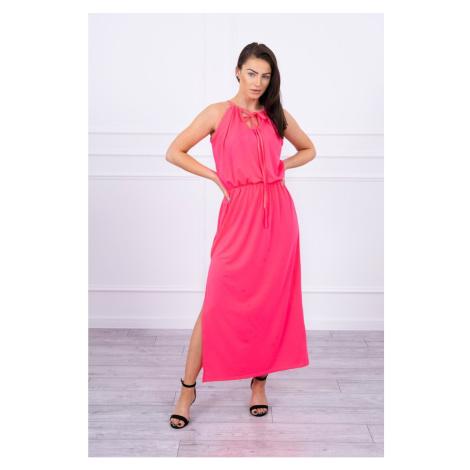 Boho dress with fly pink neon Kesi