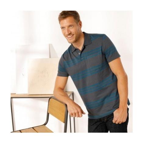 Blancheporte Pruhované polo tričko s krátkými rukávy šedá/tyrkysová