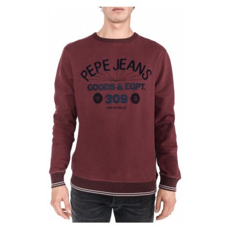 Pepe Jeans pánská tmavě vínová mikina bez kapuce MATEU