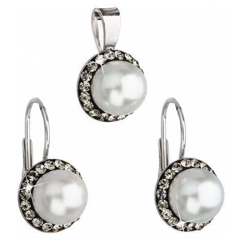 Sada šperků s krystaly Swarovski náušnice a přívěsek šedá perla kulaté 39091.3 Victum