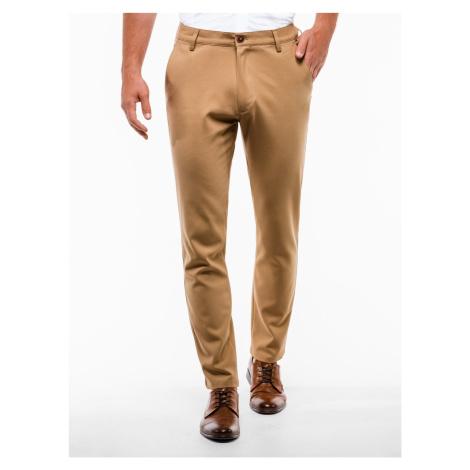 Pánské chinos kalhoty Winston světle hnědé Ombre Clothing
