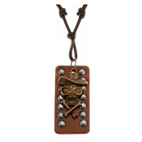 Kožený náhrdelník - lebka s překříženými kostmi a kloboukem, okovaný pás kůže Šperky eshop