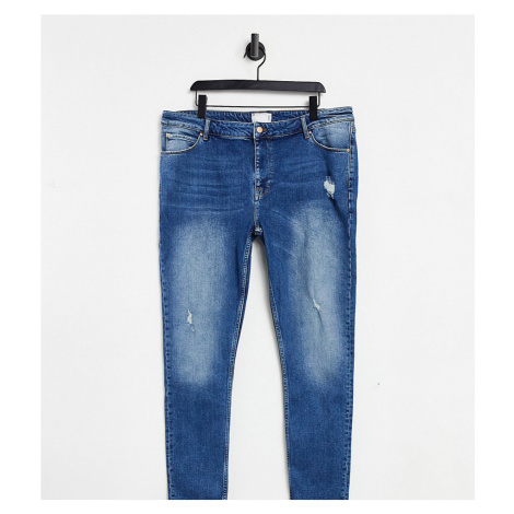ASOS DESIGN Plus super skinny jeans in dark wash with abrasions-Blue