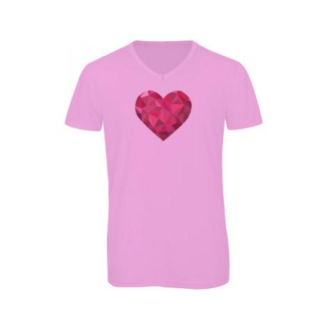 Pánské triko s výstřihem do V Srdce mozaika