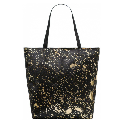 Dámská kožená kabelka velká přes rameno se srstí a zdobením - černá