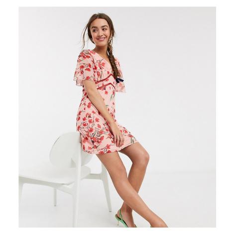 Little Mistress Petite flutter sleeve mini dress in poppy print-Multi