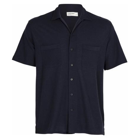 Pánská košile krátký rukáv ICEBREAKER Mens 180 Pique Open Collar Shirt, Midnight Navy (vzorek) Icebreaker Merino