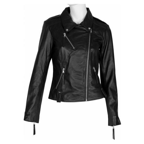 Černá dámská kožená bunda ve stylu křivák Baťa