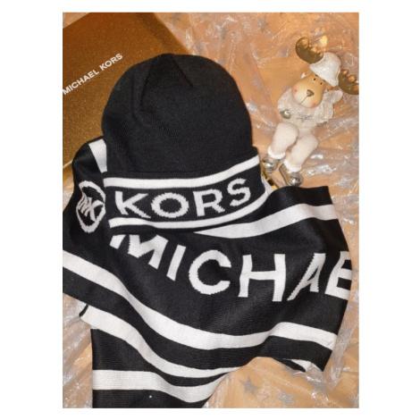 Michael Kors čepice se šálou černo bílá