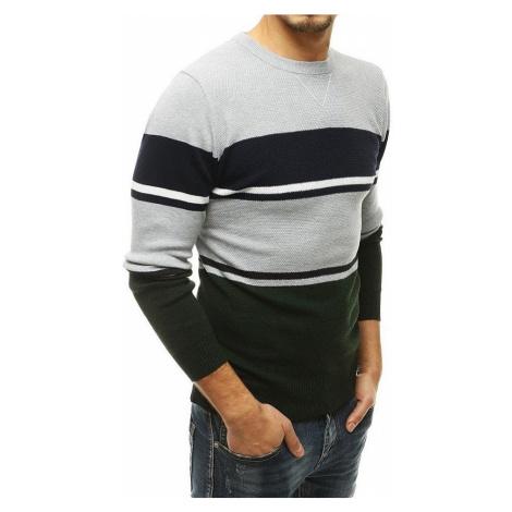 šedo-zelený pánský pruhovaný svetr BASIC