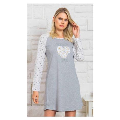 Dámská noční košile Vienetta Secret Kopretiny | světle šedá