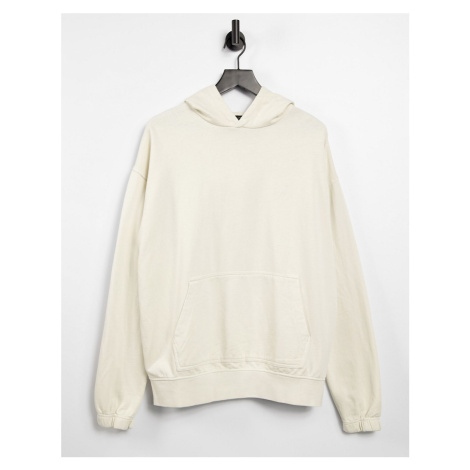 New Look washed hoodie with embroidered NLM in cream