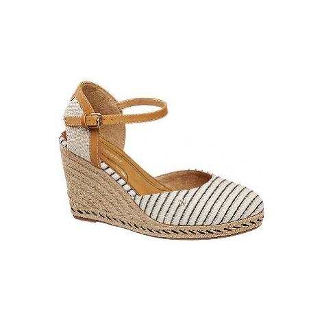 Krémově hnědé plátěné sandály na klínku Wrangler