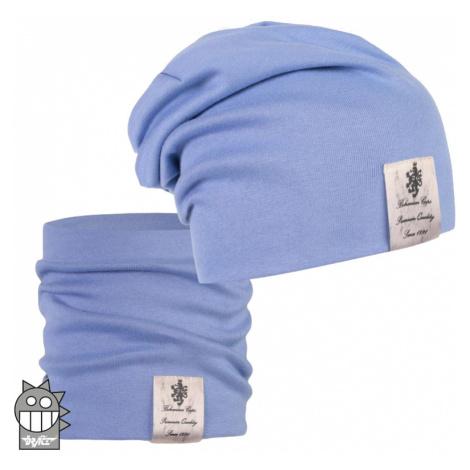 Chlapecká čepice a nákrčník Dráče - vzor 20, světle modrá