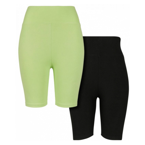 Legíny Urban Classics Ladies High Waist Cycle Shorts 2-Pack - electriclime/black