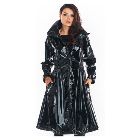Vinylový kabát dlouhá černá bunda po kolena s vysokým límcem