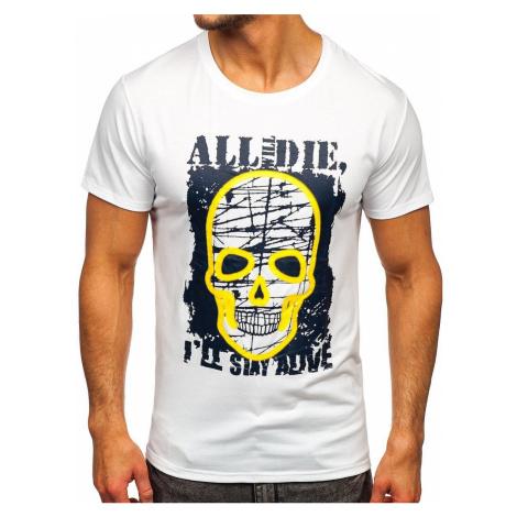 Bílé pánské tričko s potiskem Bolf Y70007 J.STYLE