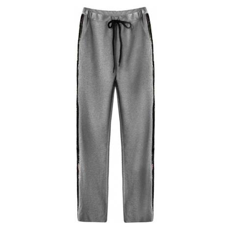 Tmavě šedé bavlněné kalhoty s flitrovými lampasy (210ART) Made in Italy