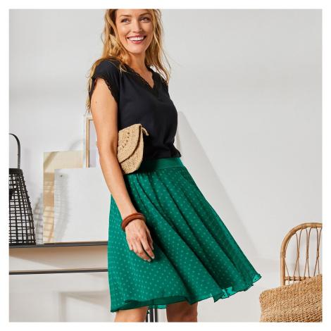 Blancheporte Krátká sukně s výšivkou zelená