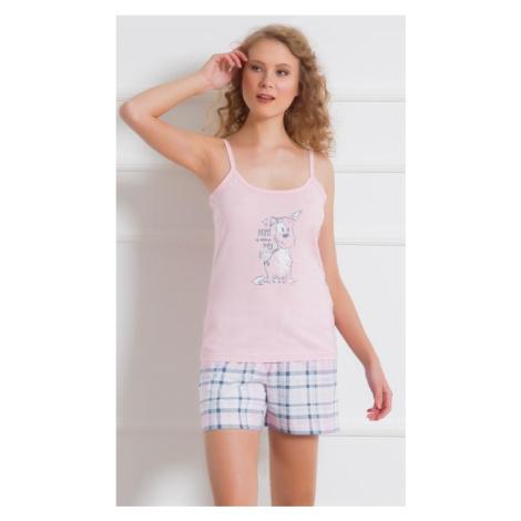 Dámské šortkové pyžamo Vienetta Secret AZOR   růžová