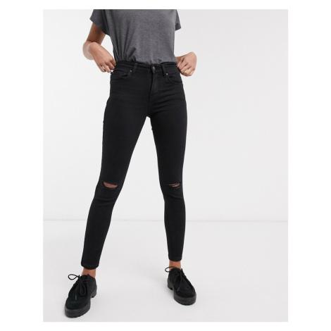Bershka skinny push up jean in black with knee rip