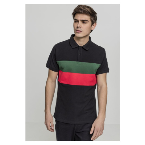 Color Block Panel Poloshirt - black/green/fire red Urban Classics