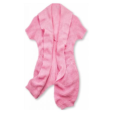 Růžový asymetrický pletený kardigan Butikovo