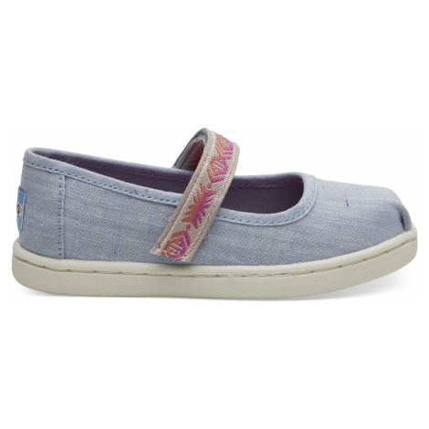 Light Bliss Blue Speckled Chambray/Global Webbing TINY Mary Jane Toms