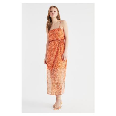 Trendyol Orange Belted Flower Patterned Dress