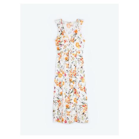 GATE Dlouhé šaty s květinovým potiskem