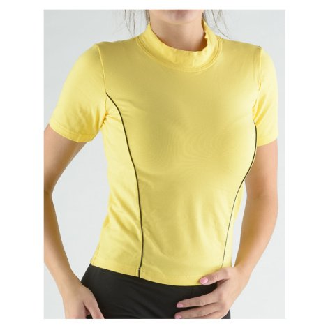 GINA Tričko se stojáčkem, krátkým rukávem, zdobení paspulemi 98005-LxYMxC Citronová-černá