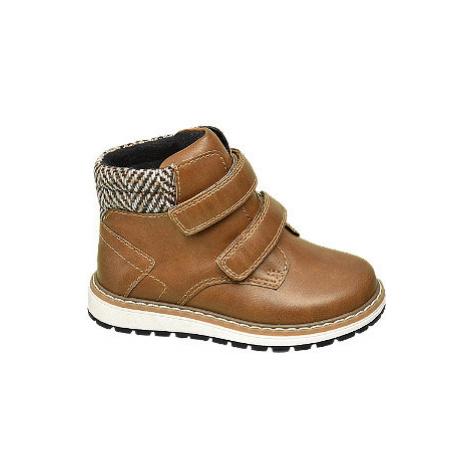 Hnědá dětská kotníková obuv na suchý zip Bobbi-Shoes