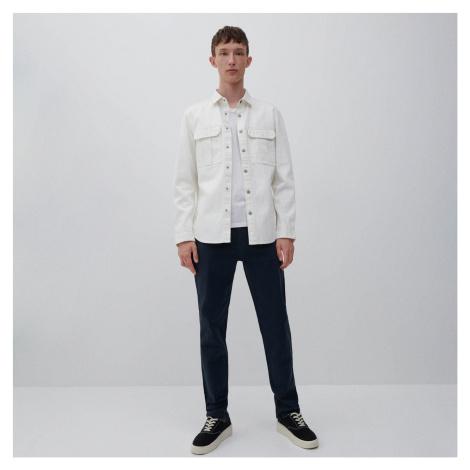 Reserved - Bavlněné kalhoty slim fit - Tmavomodrá