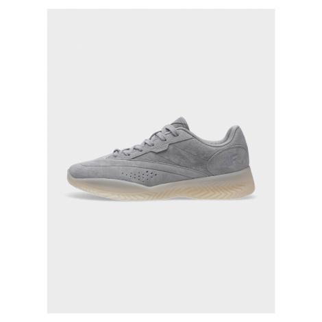 4F - Dámské kožené boty lifestyle LUNA na vysoké podrážce - šedý