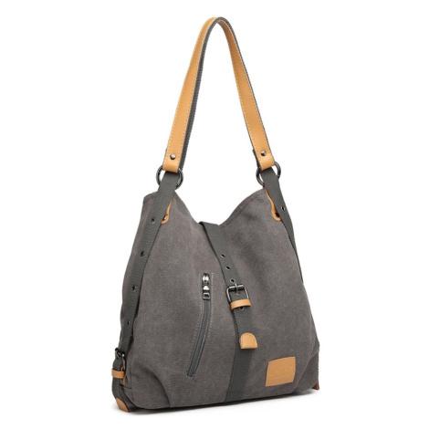 Šedá pevná látková kabelka přes rameno Akopa Lulu Bags