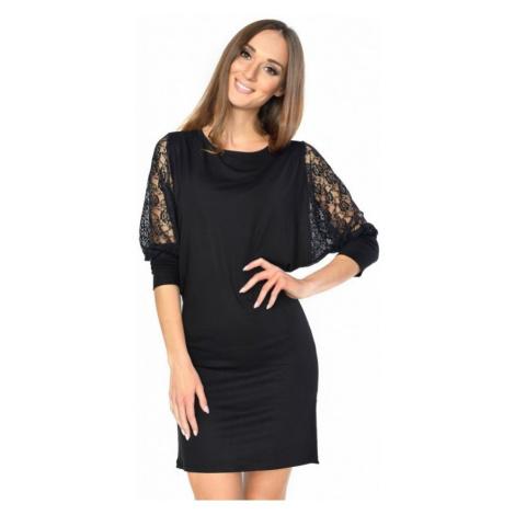 Černé strečové šaty s krajkovými rukávy