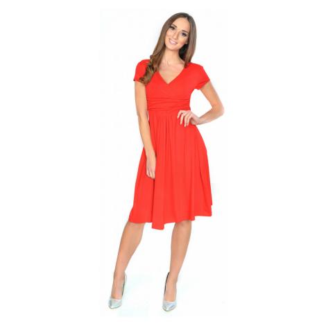 Delší vycházkové šaty s krátkým rukávem barva červená Oxyd