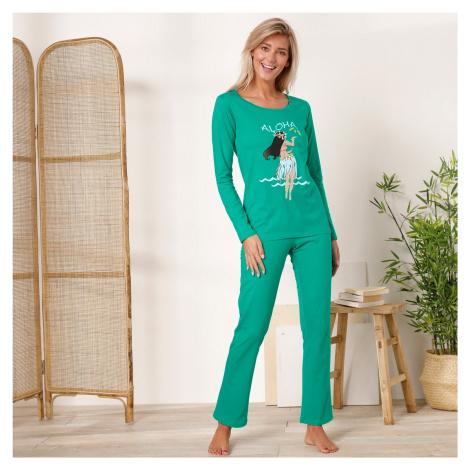 Blancheporte Pyžamo s dlouhými rukávy a kalhotami, motiv Tahiti Aloha mátová