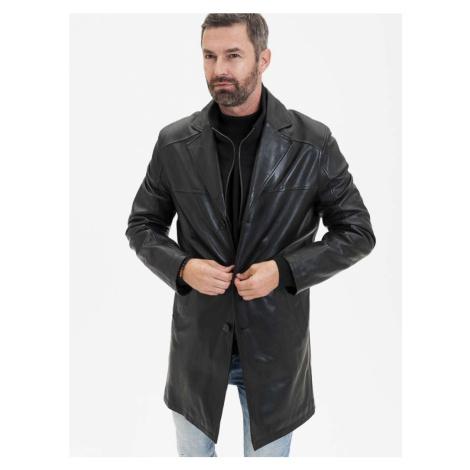 Černý pánský kožený kabát KARA Dermot