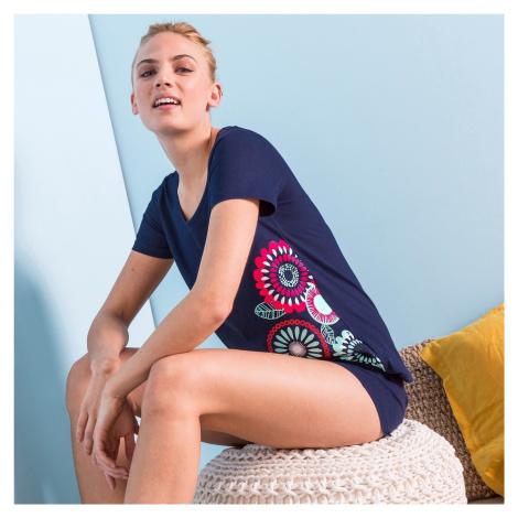 """Blancheporte Pyžamo se šortkami a krátkými rukávy, potisk """"rozety"""" nám.modrá"""