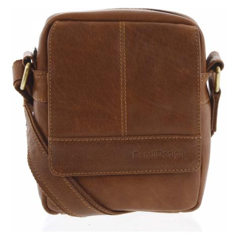 Pánská kožená crossbody taška na doklady hnědá - SendiDesign Niall