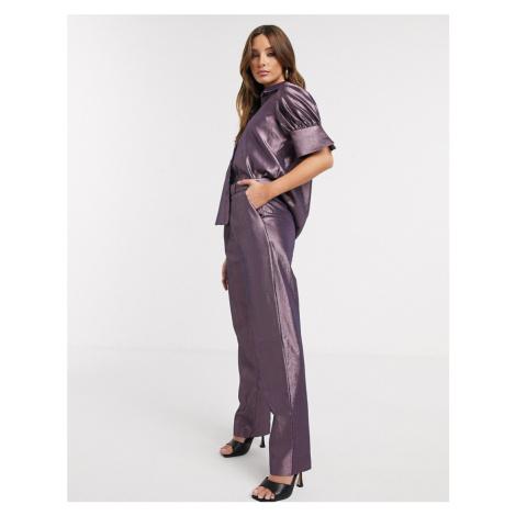 Closet London puff sleeve shirt in metallic co ord-Purple