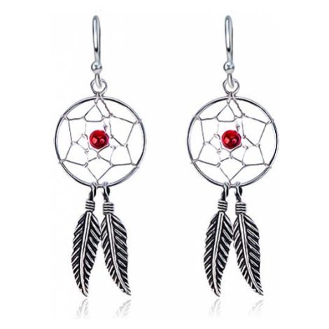 Náušnice ze stříbra 925 - lapač snů, pírka, červený korálek, háčky Šperky eshop