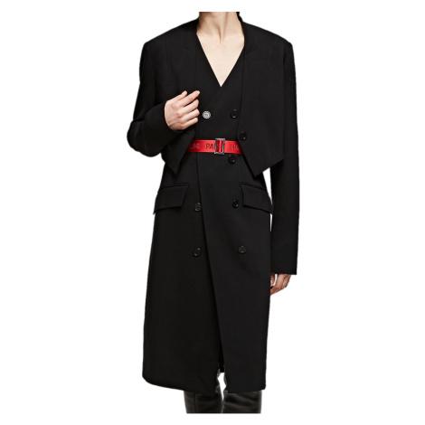 Lehký černý kombinovaný kabát KARL LAGERFELD