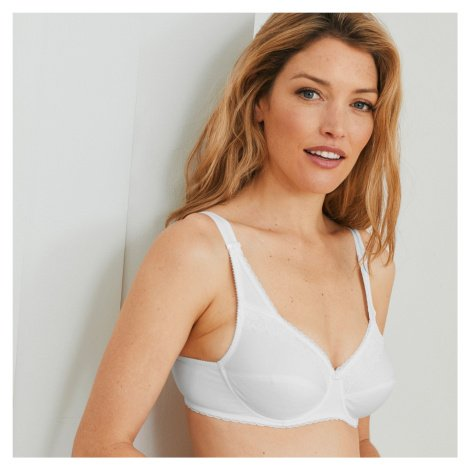 """Blancheporte Bavlněná podprsenka """"Coeur Croisé Féminin"""", s kosticemi bílá, koš.D"""
