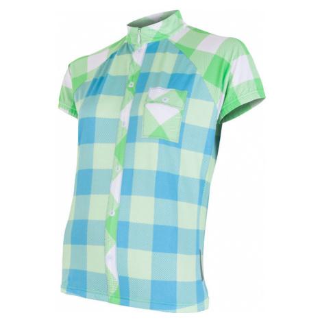 SENSOR CYKLO SQUARE dámský dres kr.ruk. modrá/zelená