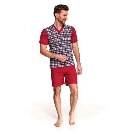 Pánské pyžamo 294 ROMAN 4XL-6XL Jaro 2021 károvaná/bordó Taro
