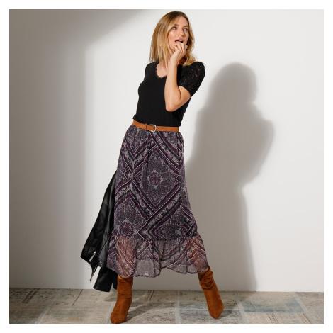Blancheporte Dlouhá voálová sukně s potiskem černá/fialová